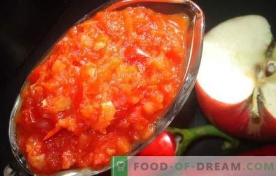 Adjika со јаболка за зима: слатка и кисела сос за сите прилики. Најдобрите рецепти adjika со јаболка за зима