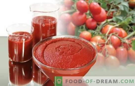 Томатската паста за зимата е универзална зачувување. Како да се готви вкусна тестенини од домати за зима: дебели и зачинети