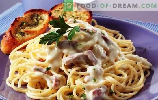 Тестенини карбонара со шунка и крем - бутон апетит! Италијански тестенини рецепти карбонара со шунка и крем