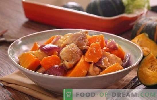 Пилешко со тиква во рерна - јадења од живина без непотребни проблеми. Печете цела или исечена пилешка со тиква во рерната
