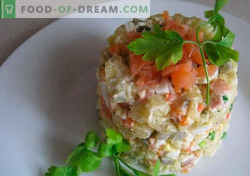Салата со солени лосос - вистинските рецепти. Брза и вкусна варена салата со лесно солени лосос.