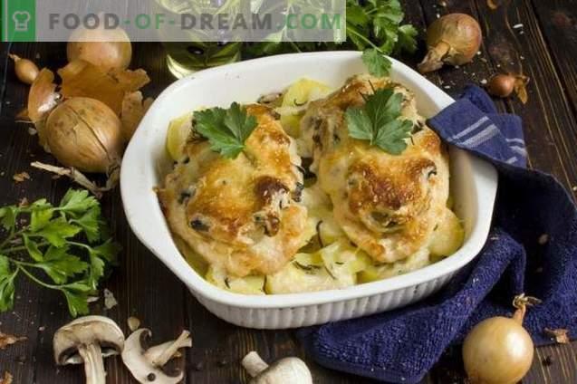 Carne de pui în stil francez, cu șampițe și cartofi