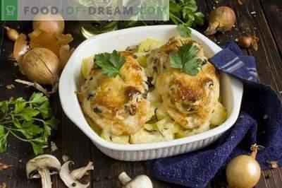 Пилешко месо со француски стил со шампињони и компири